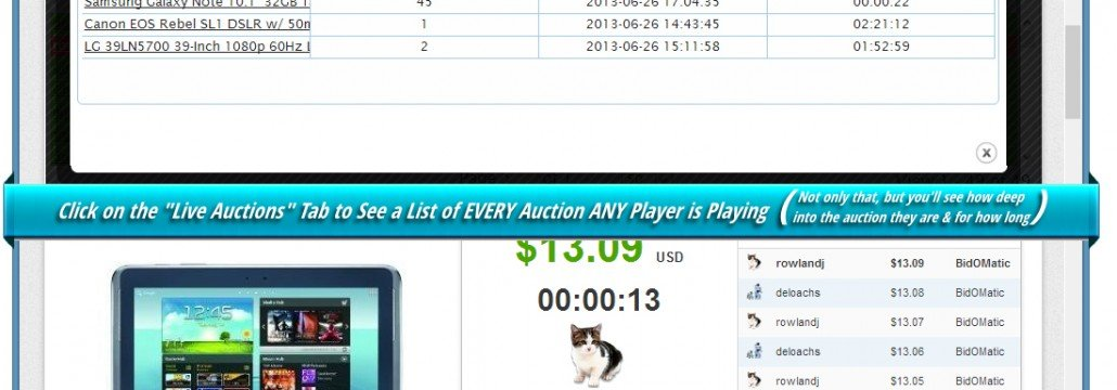 Using the live auctions tab, you can see a list of every auction any bidder is currently bidding on