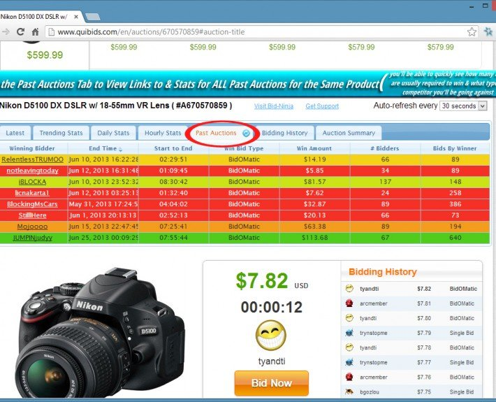 The past auctions tab shows you a list of every past tracked auction, who won, how many bids it took to win and more