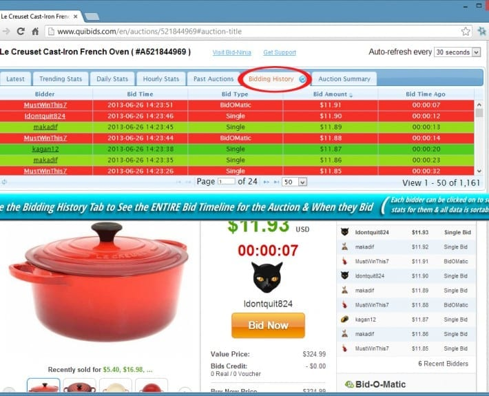 Using the timeline tab, you can view every bid placed on an auction...from the first to the last
