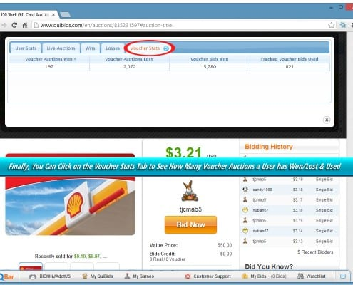 Voucher Bids tab within Bid-Ninja shows all of a users won, lost & used voucher bids on QuiBids