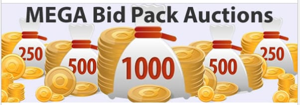 QuiBids was holding all of these auction types...250, 500 & 1,000 voucher bid auctions