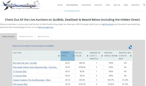 "Here is how the ""live auctions"" page that shows all the live auctions for QuiBids, DealDash & Beezid looks"