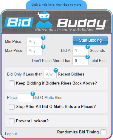 BidBuddy is Bid-Ninja's friendly autobidder