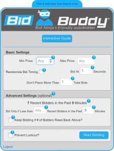 BidBuddy - Bid-Ninja's friendly autobidder - for DealDash and QuiBids