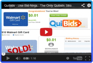 This demonstration video of Bid-Ninja on a QuiBids auction shows the power of the Bid-Ninja Analytics & BidBuddy (autobidder)